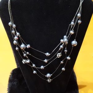 Gray, Pearl, and Rhinestone Necklace